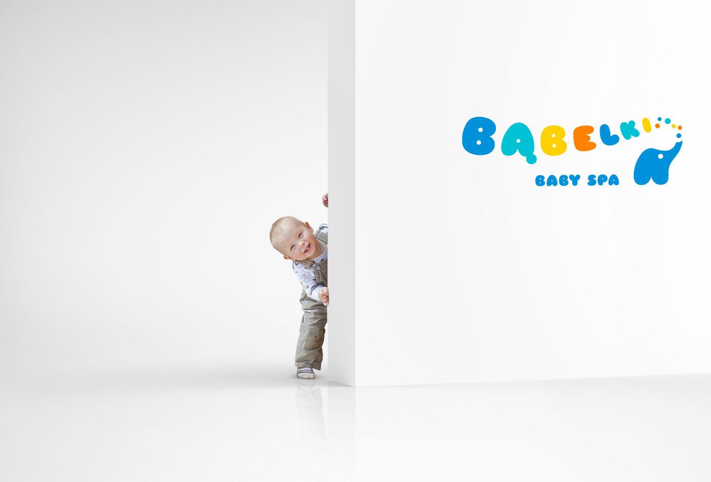 logo bąbelki Bubbly Spa baby elephant identity child bath play
