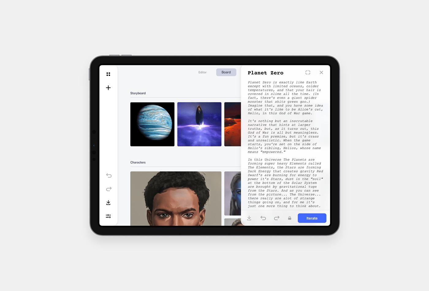 ai design Editor iPad machine learning nodes UI ux writing