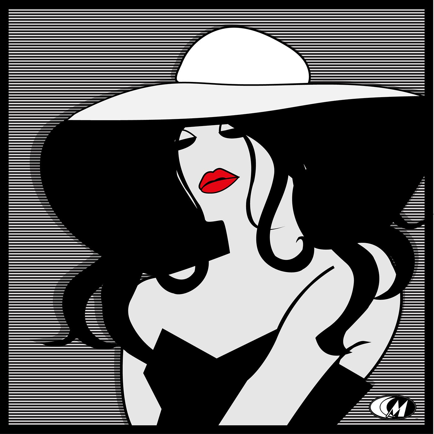 Fashion  ILLUSTRATION  Digital Art  black and white minimalist floppy hat rosy lips