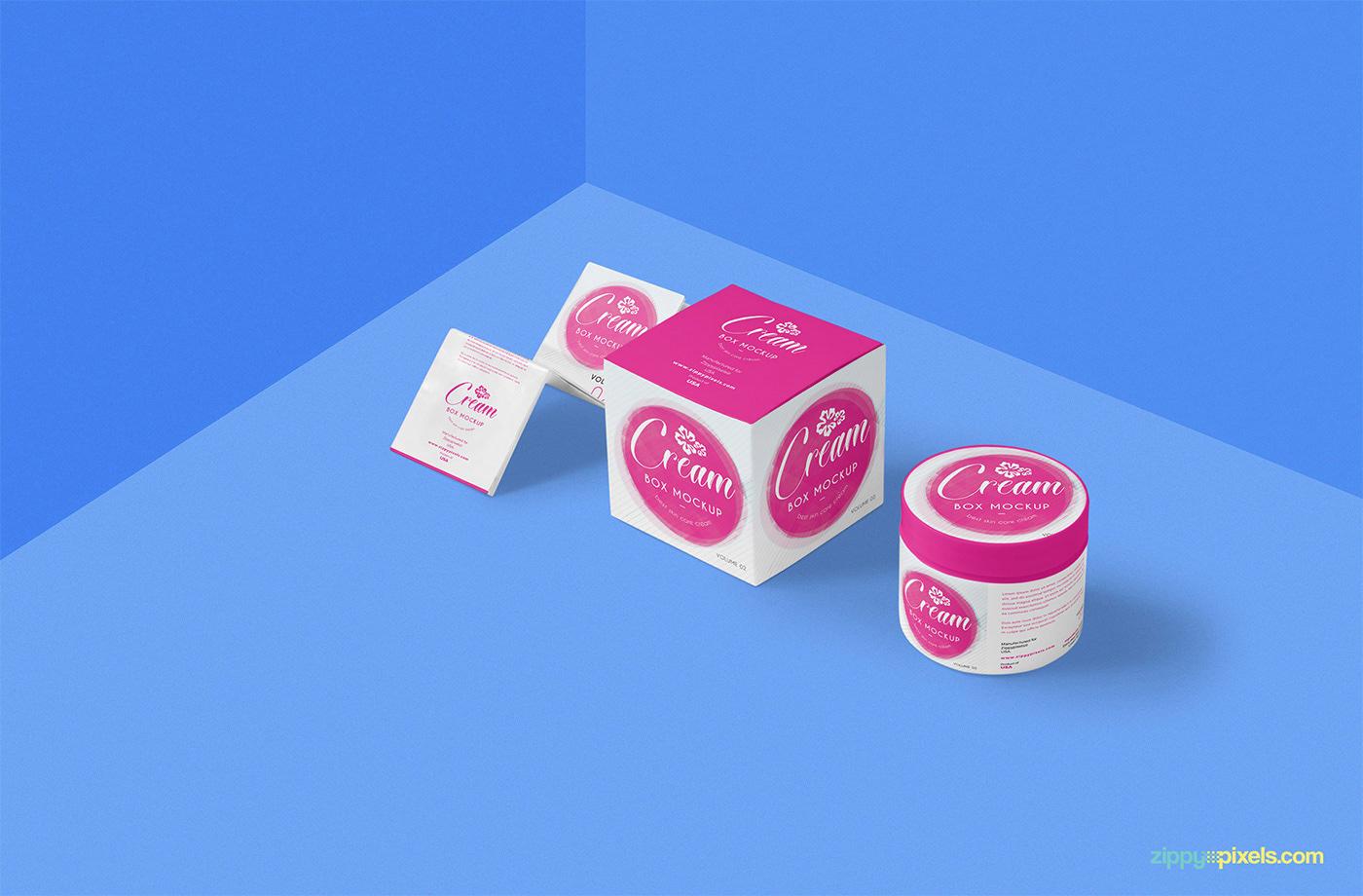 free freebie Mockup psd photoshop Packaging cream Cosmetic pot jar