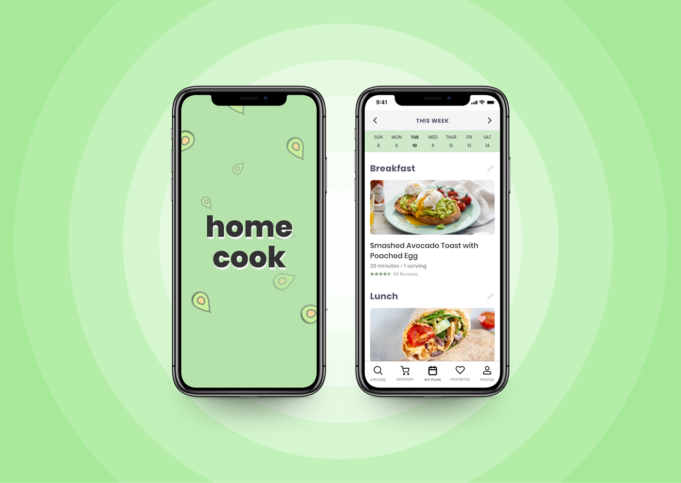 """High fidelity iPhone X mockups for a meal prep app called """"Home Cook"""""""