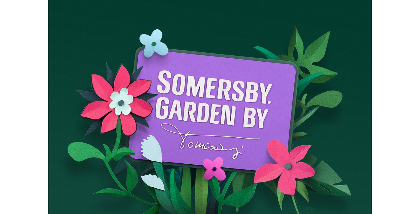 Flowers papercut Photography  retouching  colorful vibrant package design  somersby