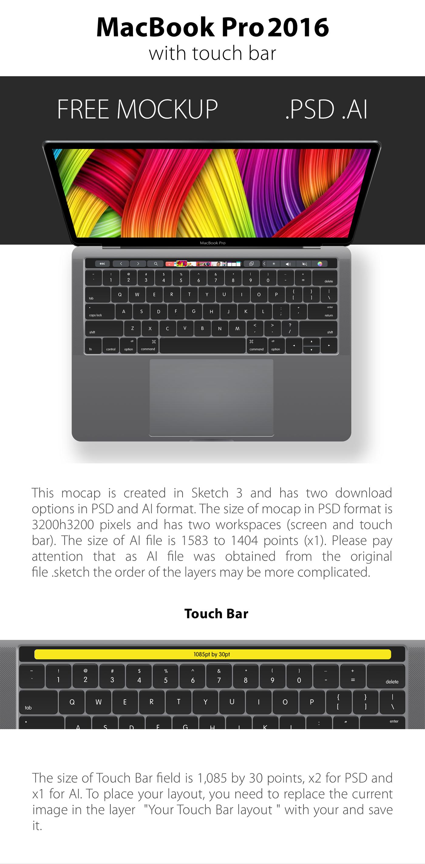 free mockup  free psd free psd mockup free Mockup ai free ai ai mockup macbook pro touch bar