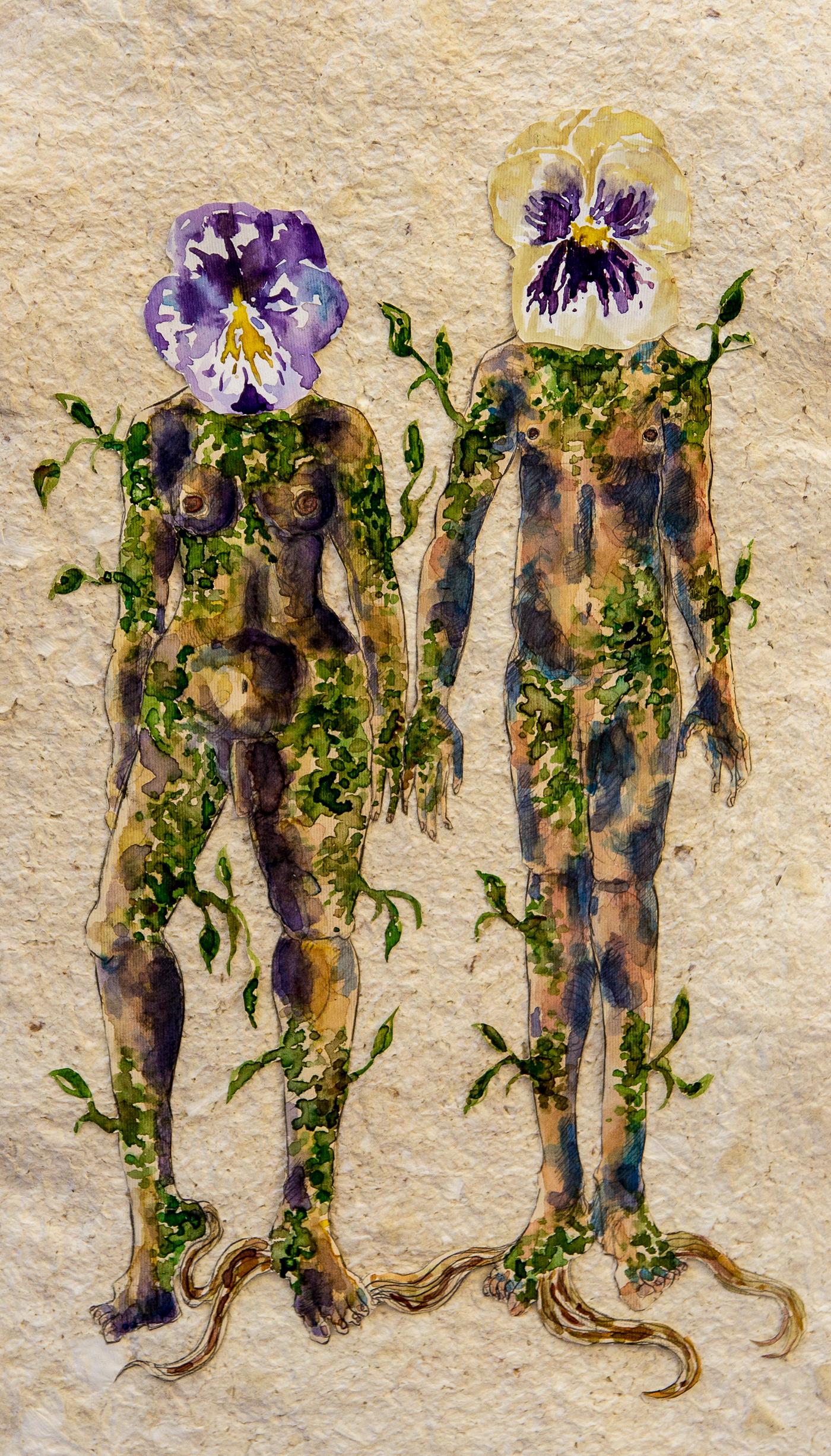viola tricolor Viola Flower Illustration post human