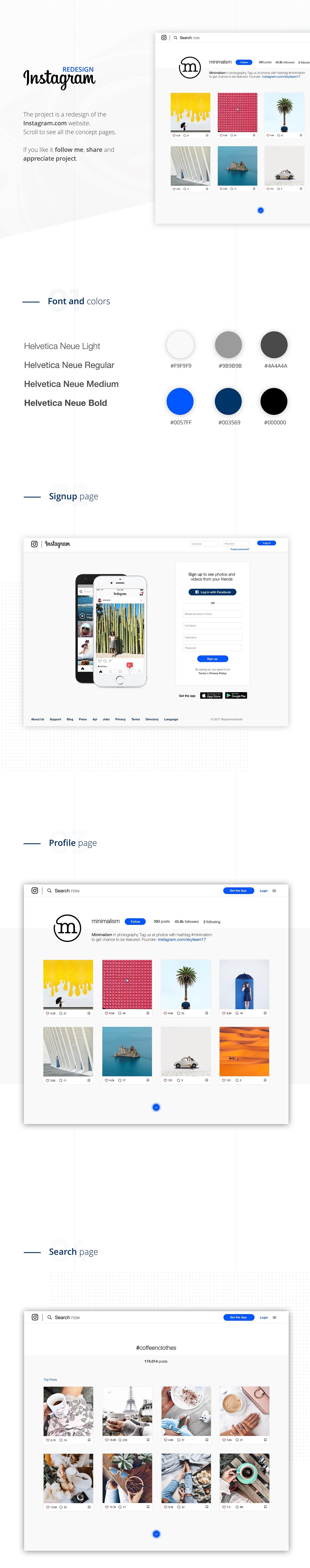 UI ux redesign instagram minimal concept app Web Design  Website clean