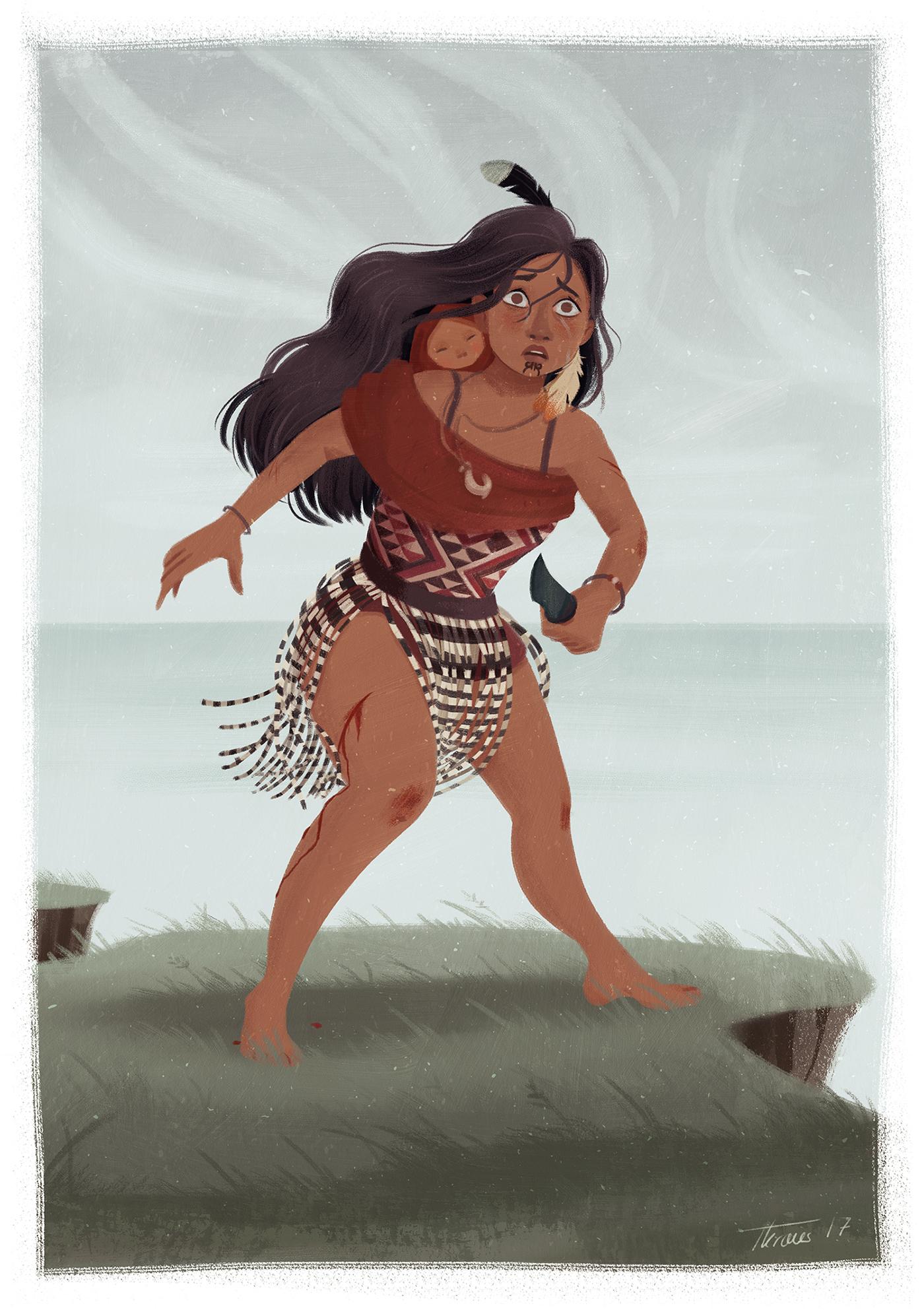 Character design  character illustration maori woman New Zealand cdc artwork