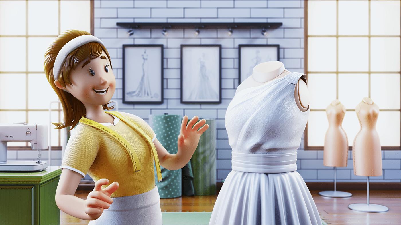 3D animation  api app Bank Character conecta coopera cooperation Sicredi