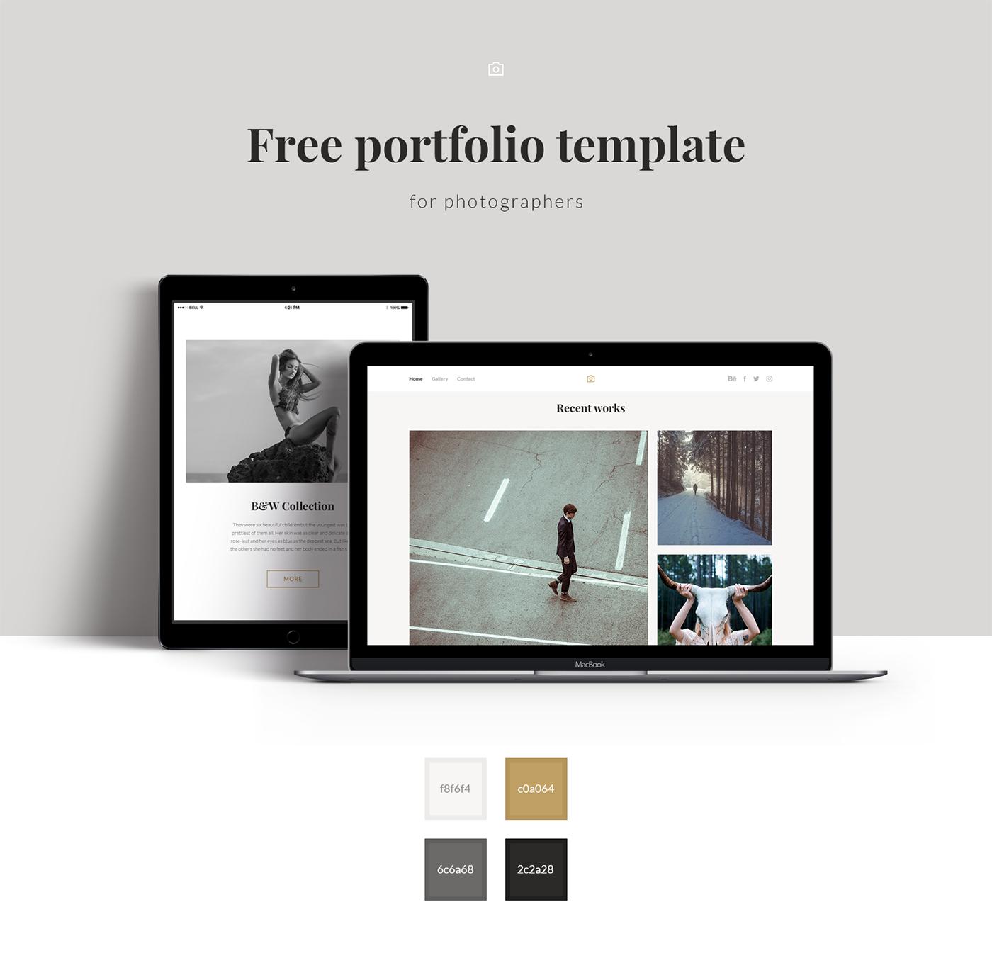 free portfolio template on behance