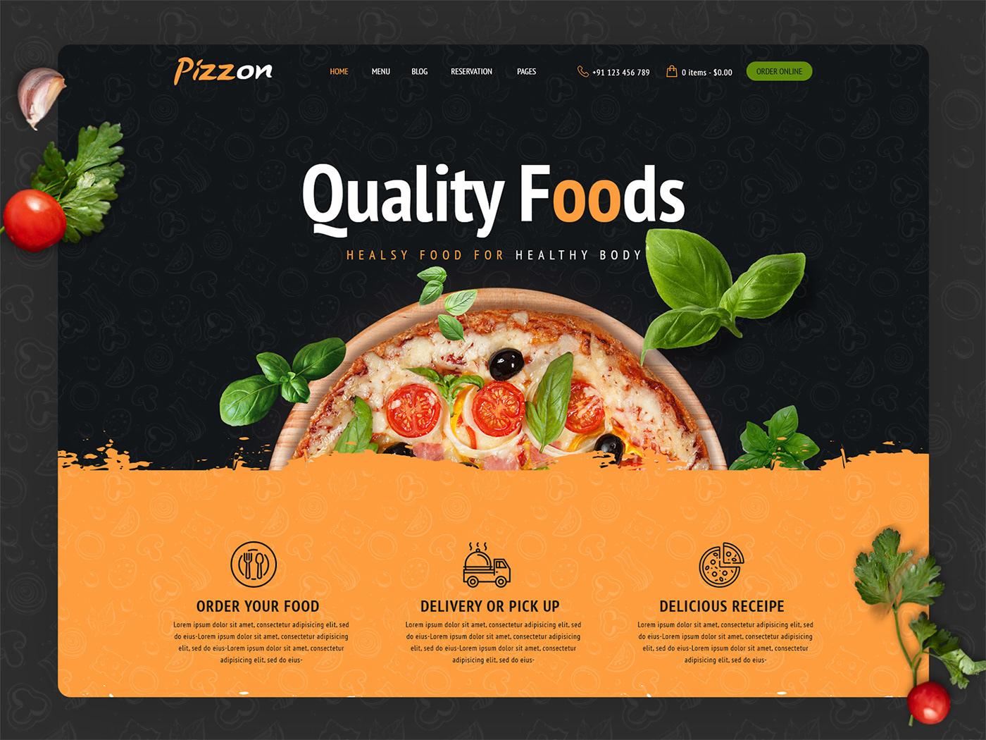 Cafe Website design Food Website HTML HTML Template pizza website psd template restaurant Website