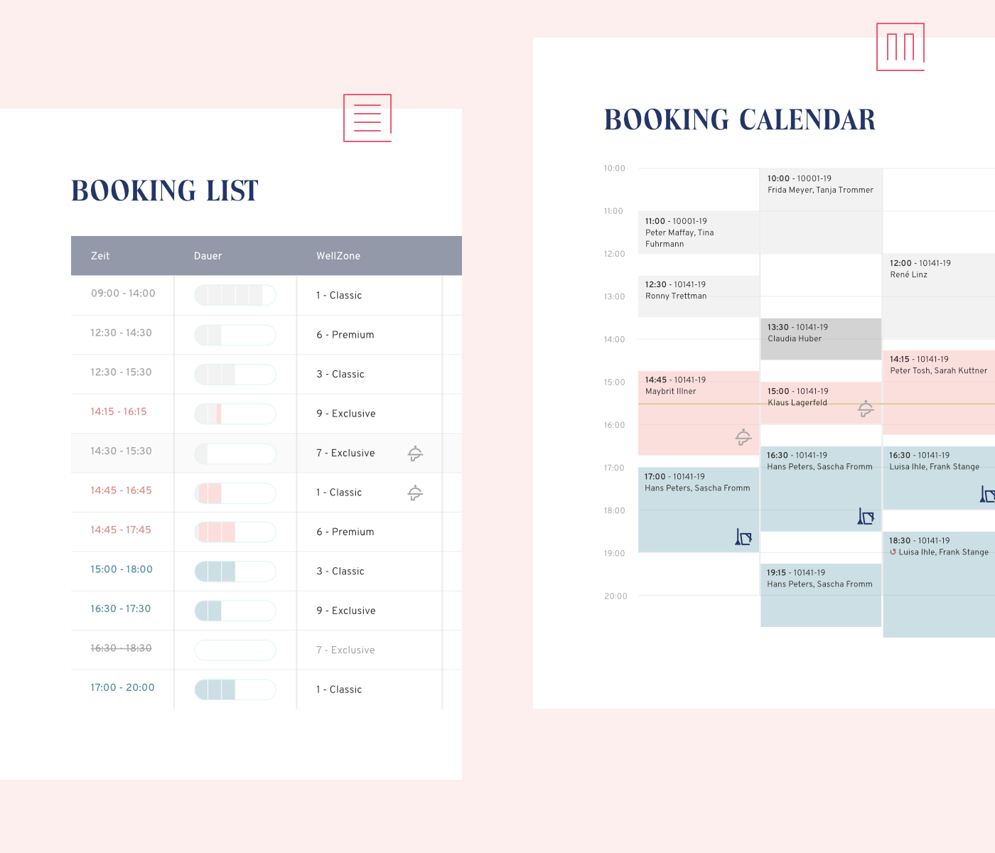 blue Booking commerce icons Interface management pastel planning statistics Website