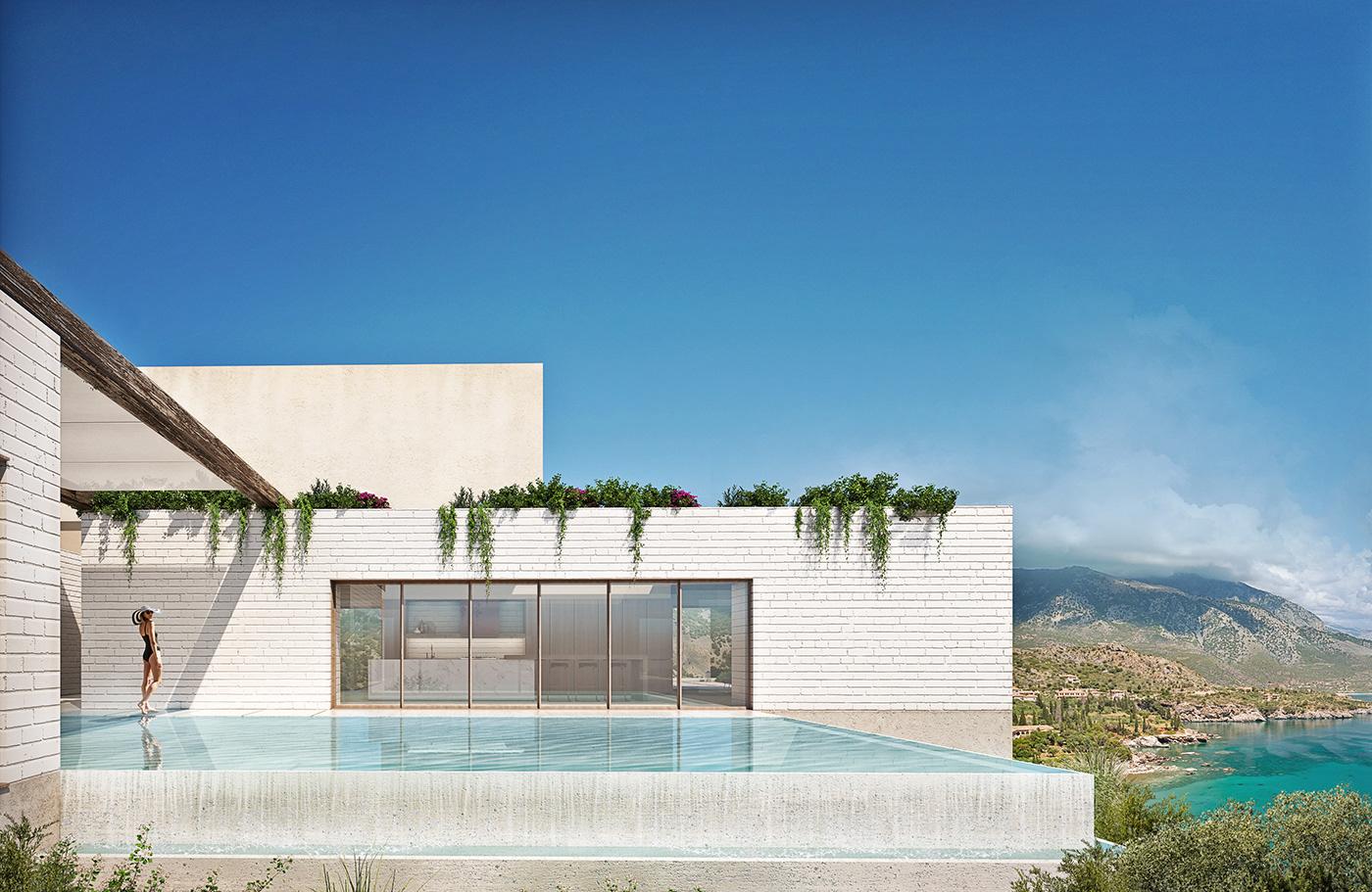 architecture archviz CGI Greece modern photoshop Render rendering Villa vray