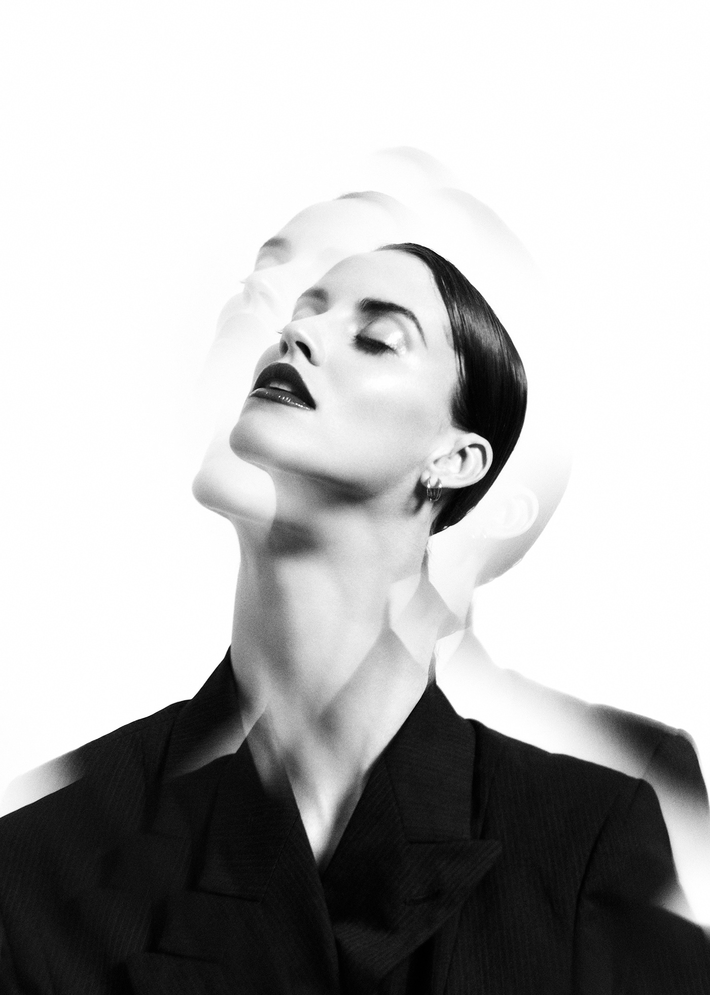 black and white editorial kaleidoscope portrait