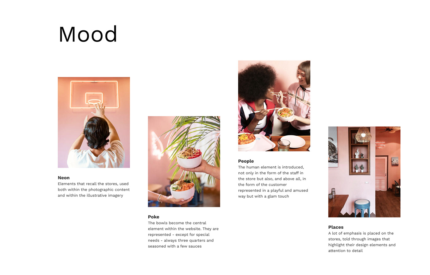 moodboard that recalls the brand main elements such as neon lights, poke bowls, people and stores