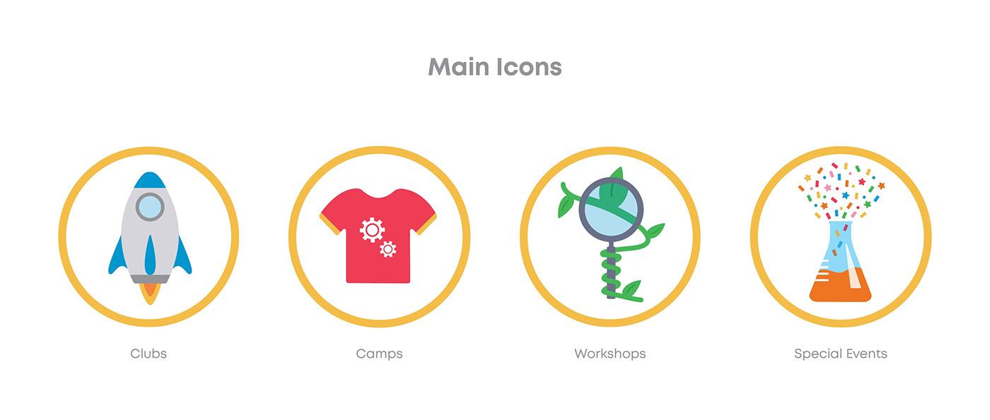 icon set icon design  science Camps summer kids ualberta design stem Engineering