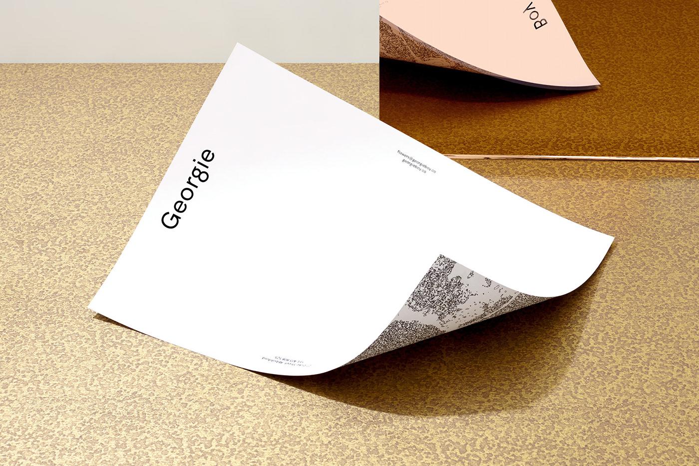 business card foil colorplan brown bronze florist Flowers graphic design  letterhead