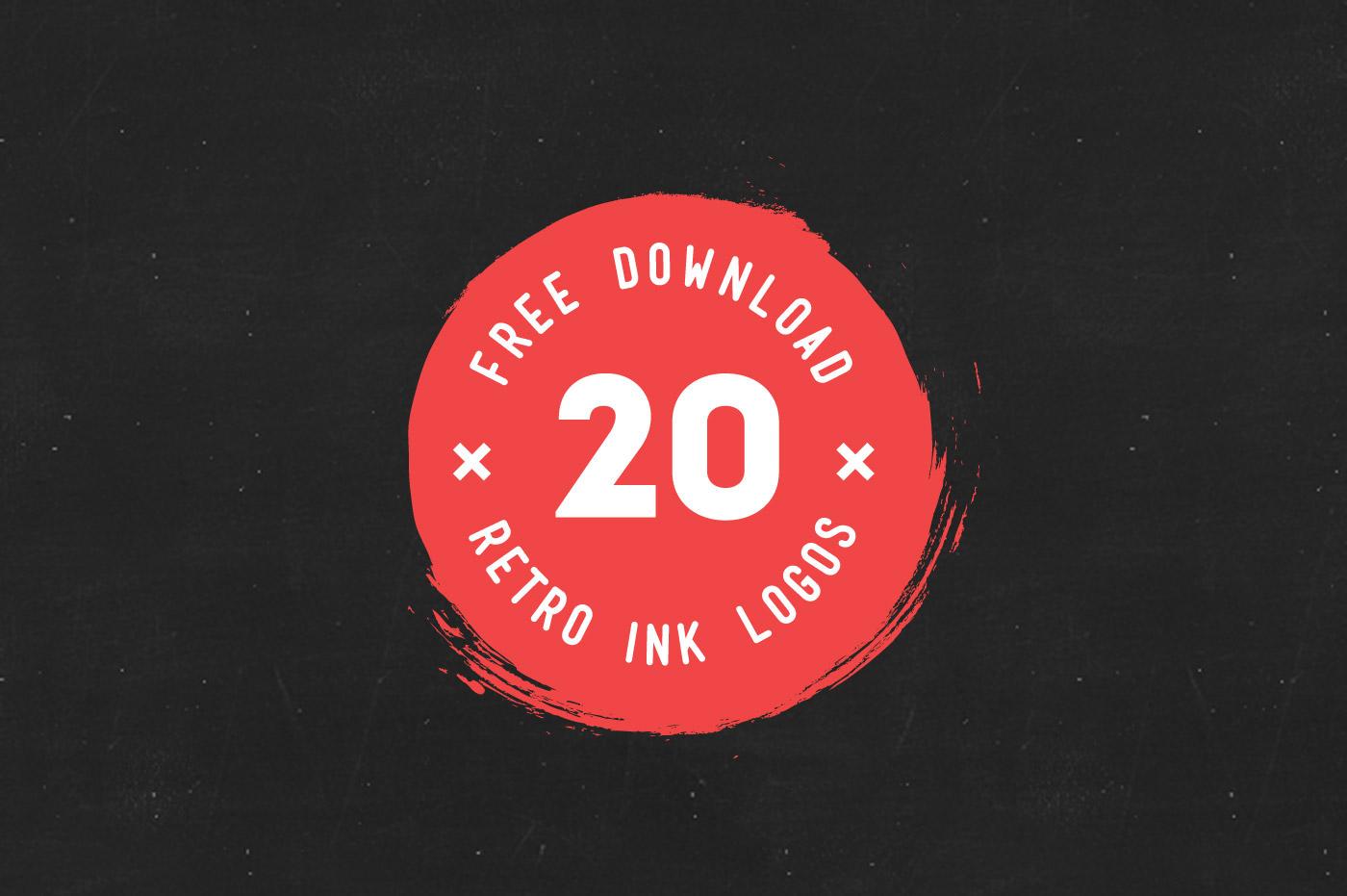 free download Retro ink Badges logo vintage brush pen