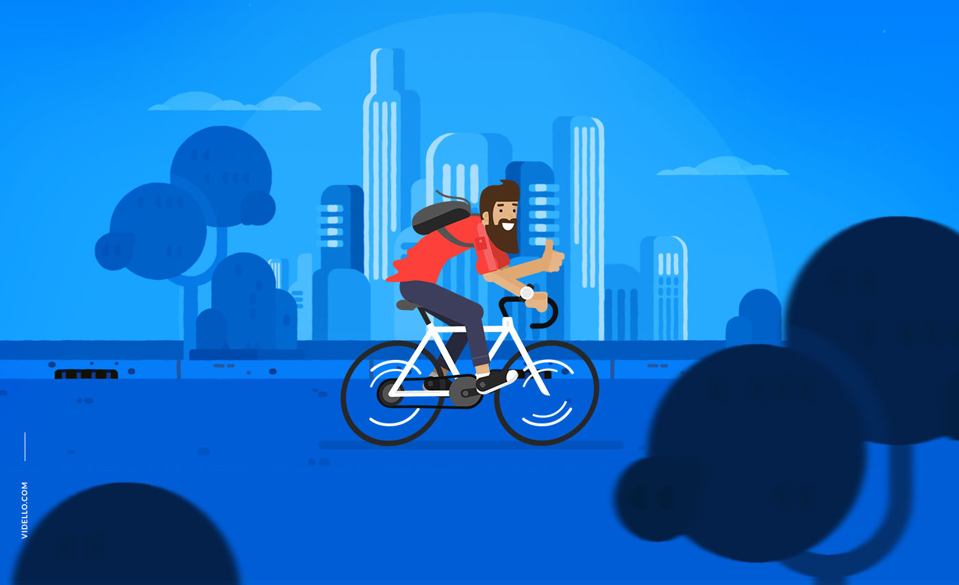animation  promo ILLUSTRATION  motion graphics  flat cyclist video