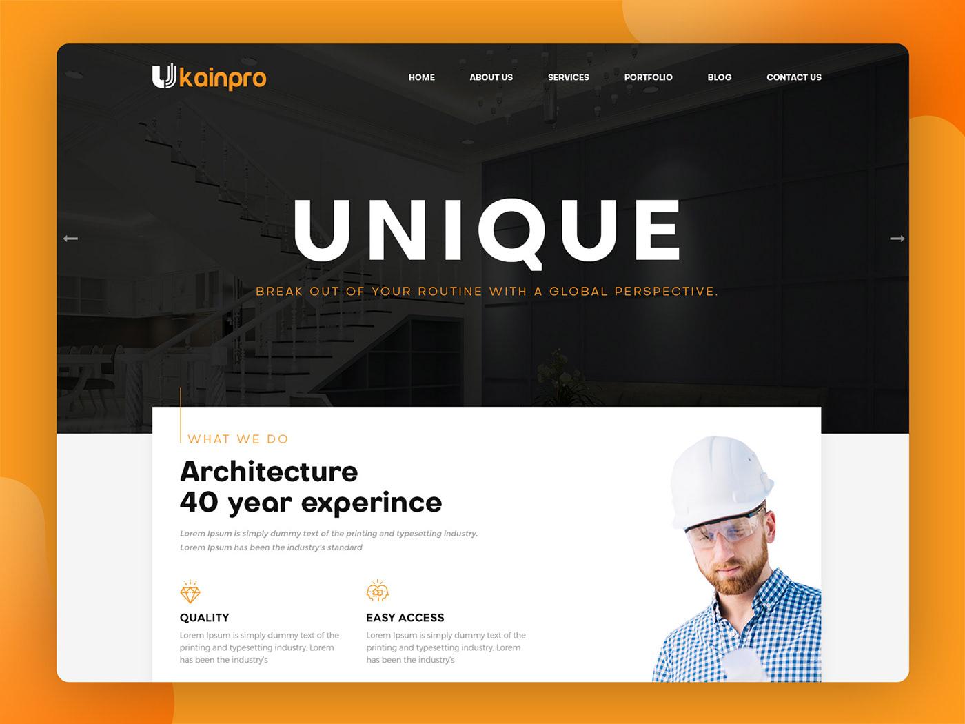 Responsive Design HTML Template inspiration architect construction portfolio psd Engineering  renovation
