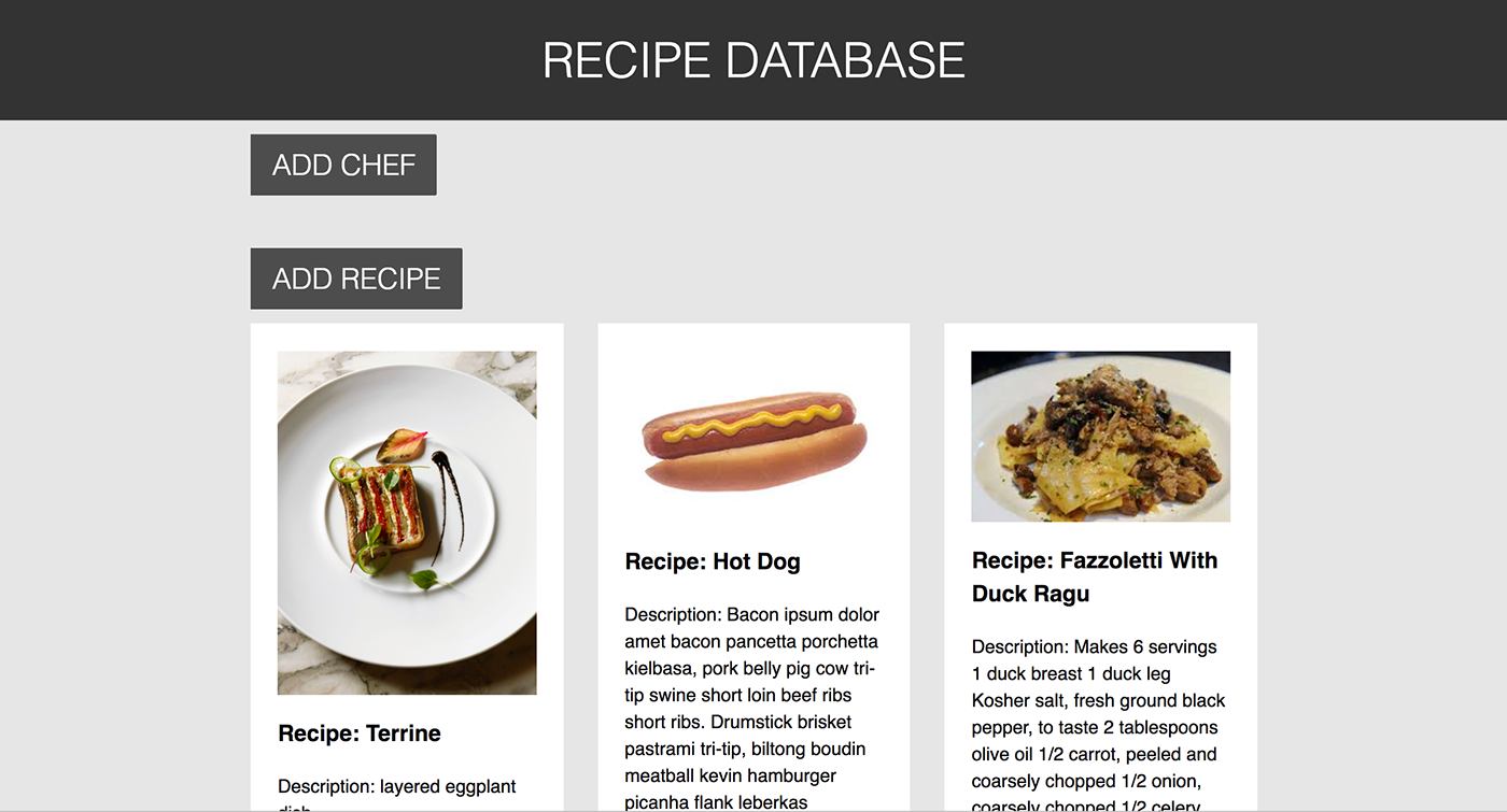 Recipe database on behance this was a web app that i developed for a graduate course it is a recipe database forumfinder Choice Image