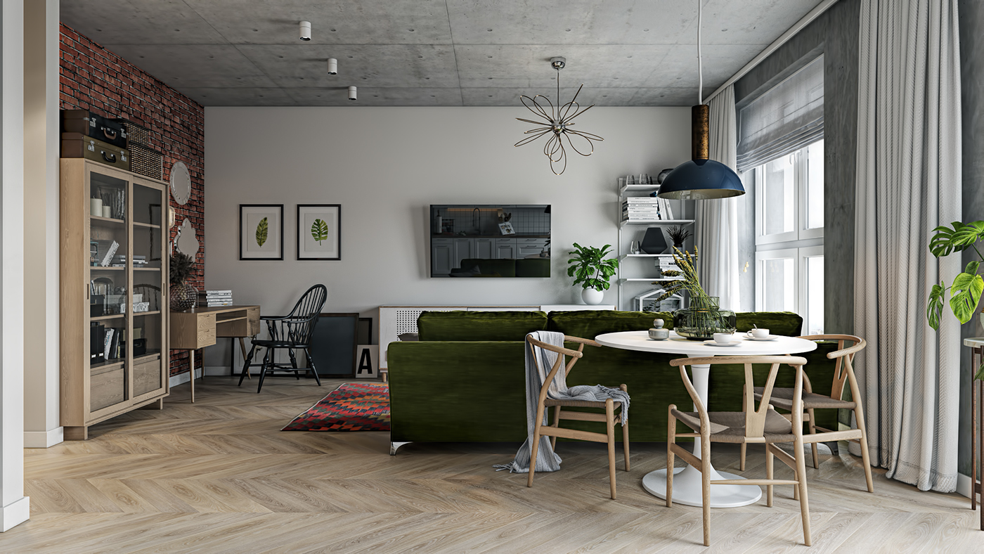 living room with ikea kitchen on behance