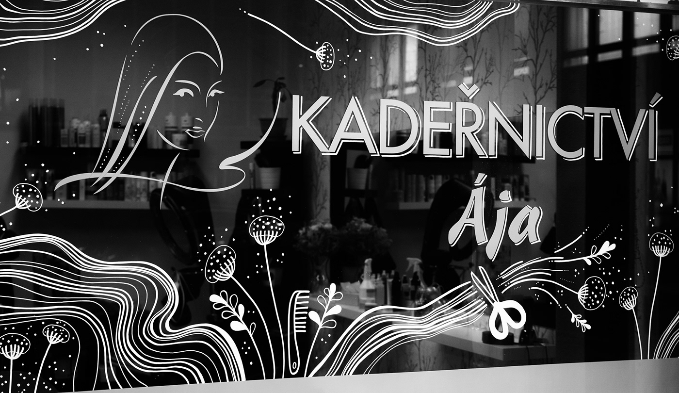 hairdresser ILLUSTRATION  Mural window illustration window mural