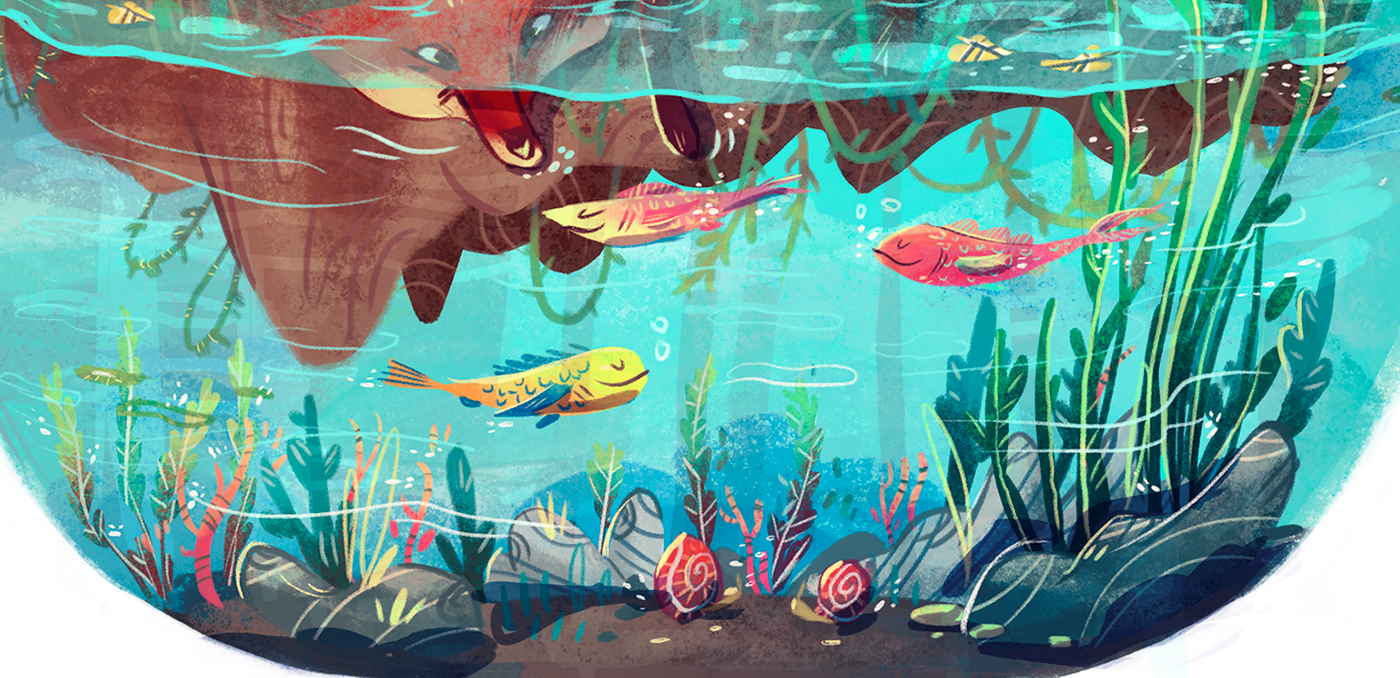 FOX lake concept water fish children's book animal Character fable Nature