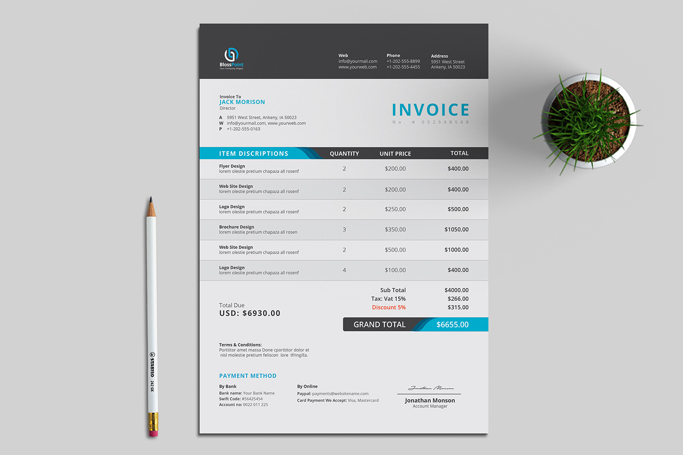 a4 invoice automatic bill business clean invoice corporate invoice elegant invoice Excel design