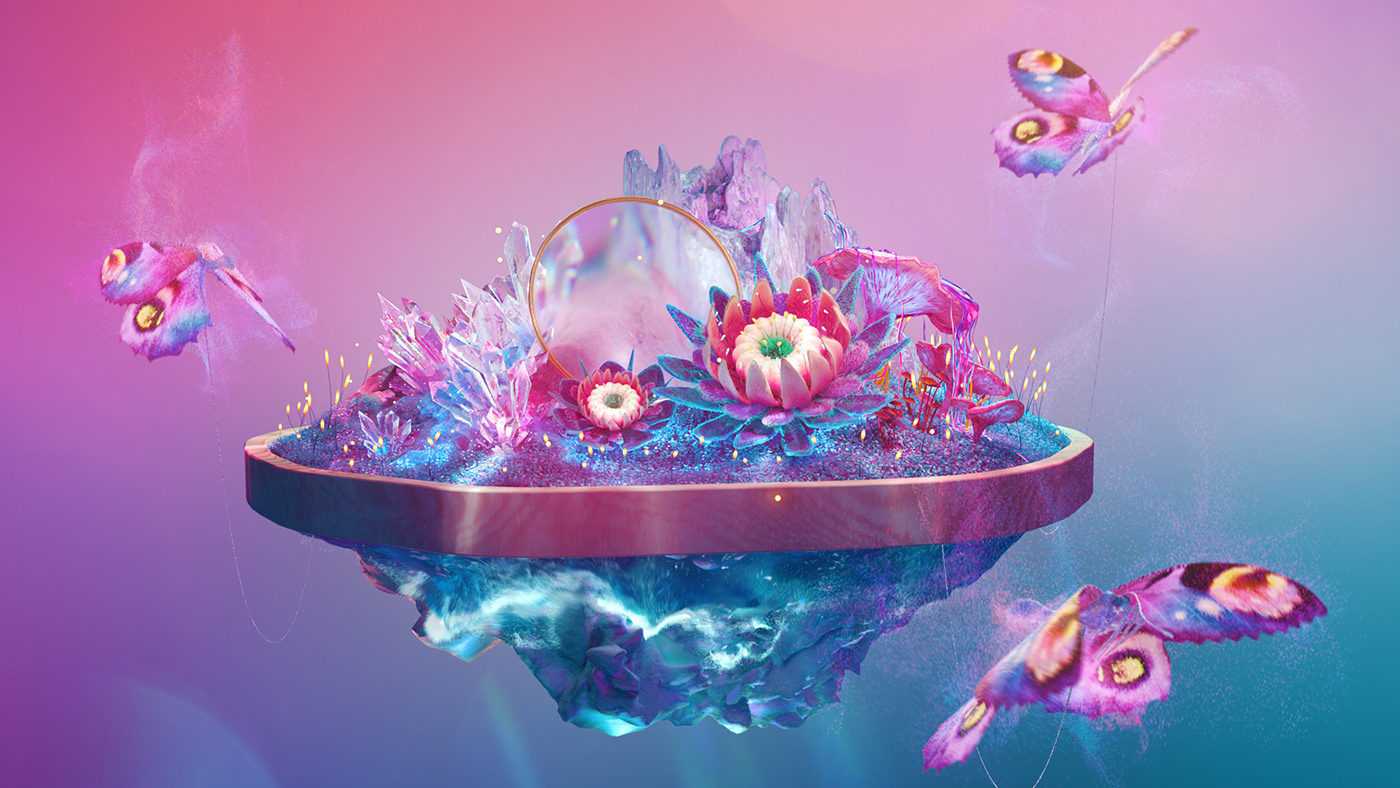 Beautiful bioluminescent butterfly c4d calm crystal dream flower pastel surreal