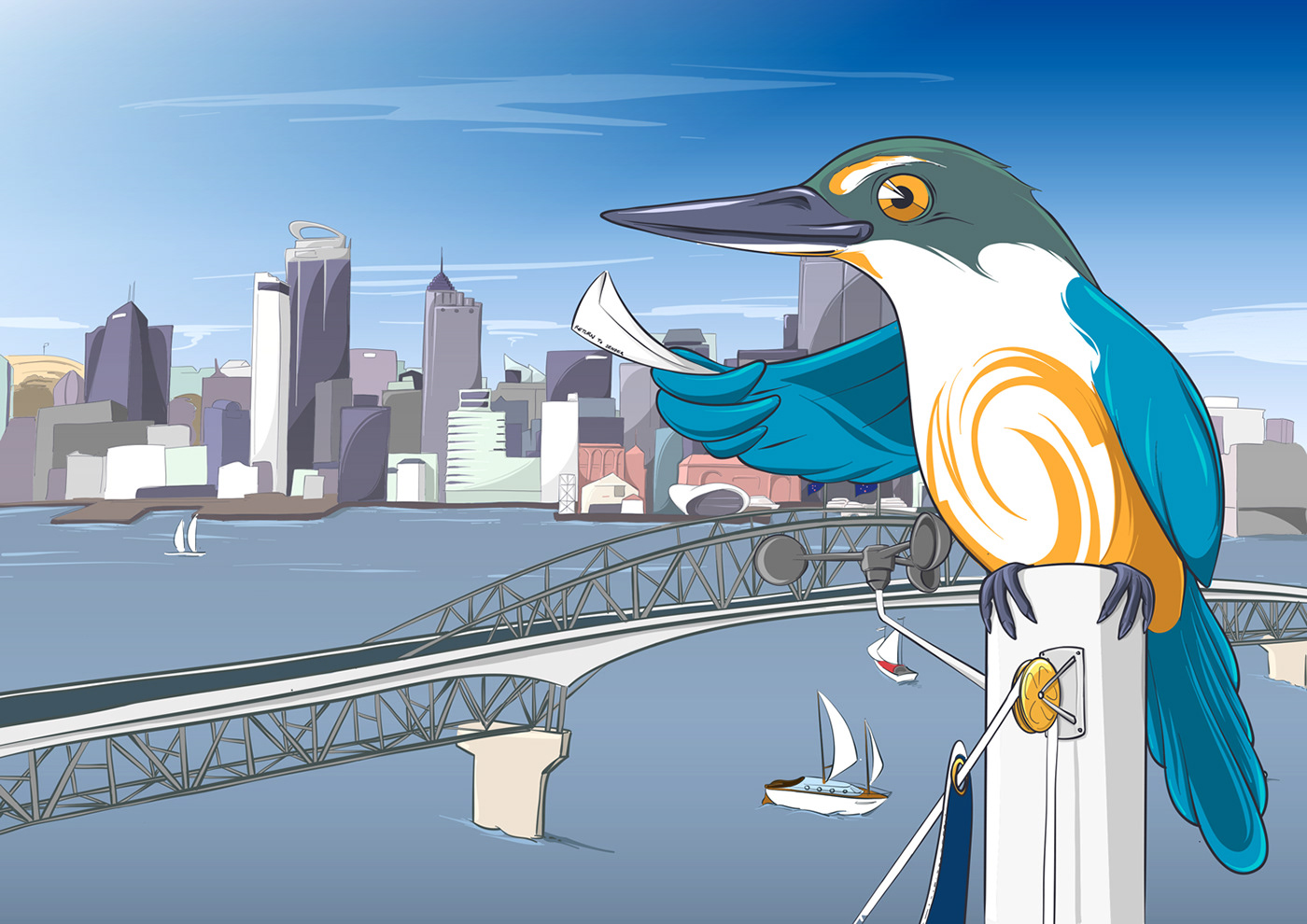 bird buildings city cityscape Flying kingfisher tower vector wings
