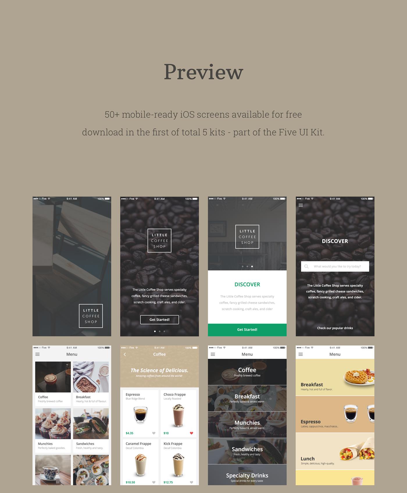 free freebie ui kit ios Mobile app Application Design app design ui kit freebie ui kit free UI ui design Ecommerce shop Coffee free download