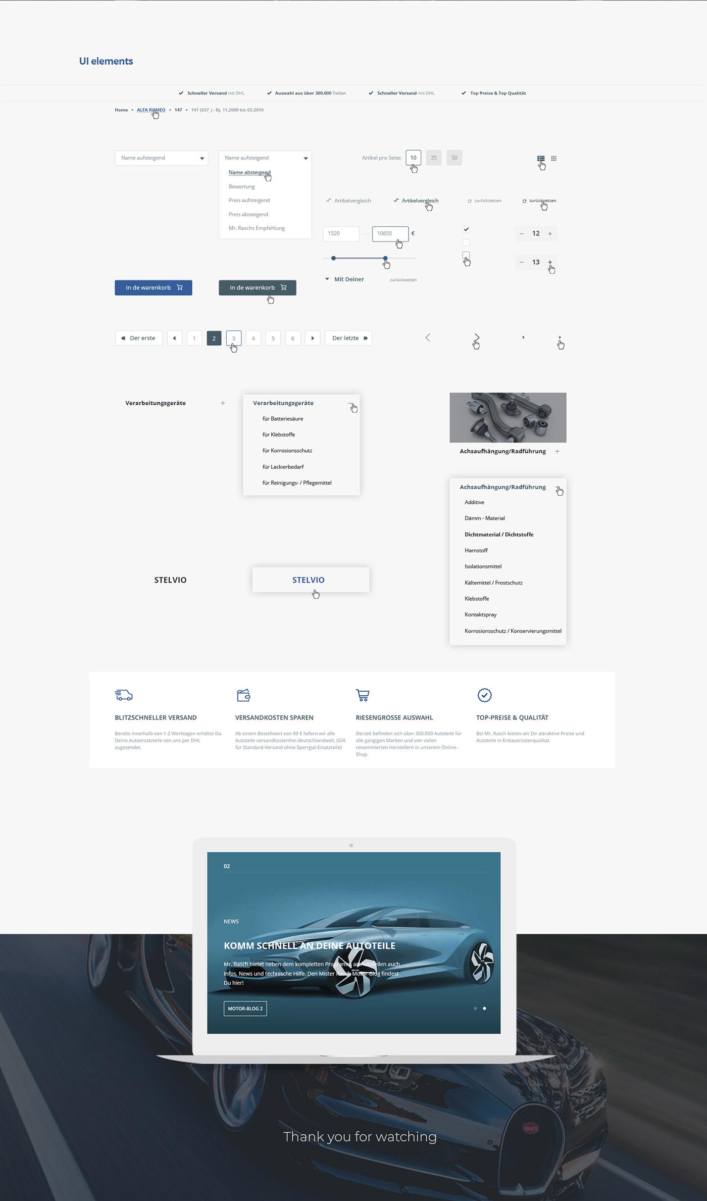 Ecommerce online store UI/UX Auto Bēhаnce online landing wed-design
