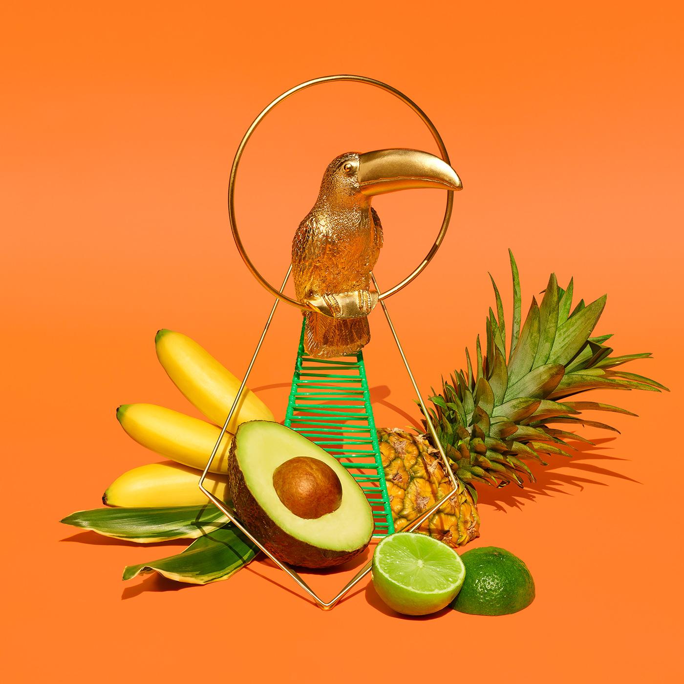 acapulco tropic set design  Swimmingpool beach 80s Fruit birds
