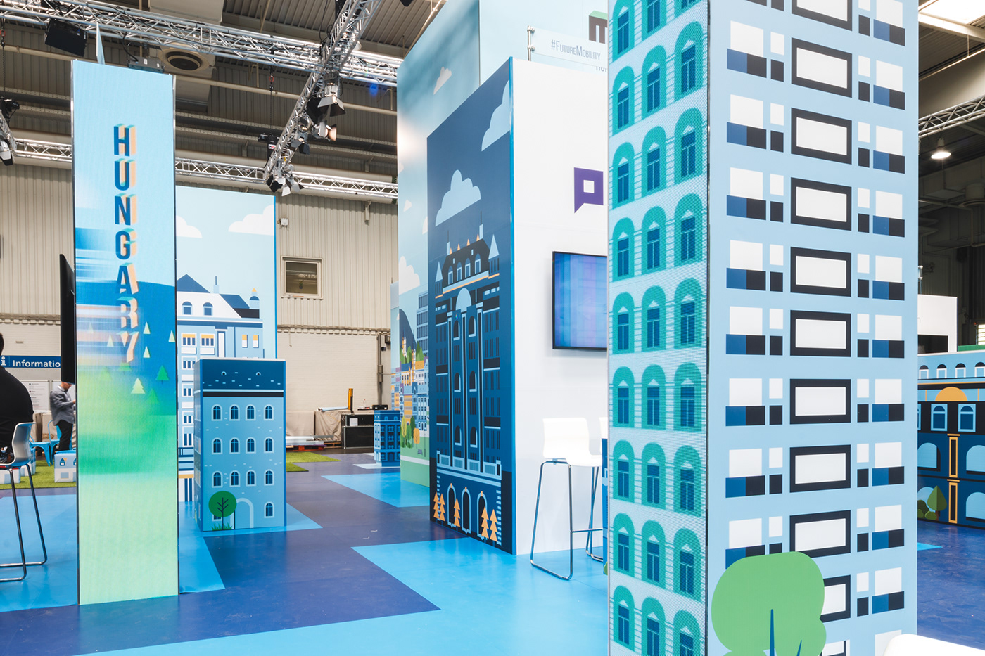 pavilion stand design Exhibition  architecture graphic design  cebit branding  flat design