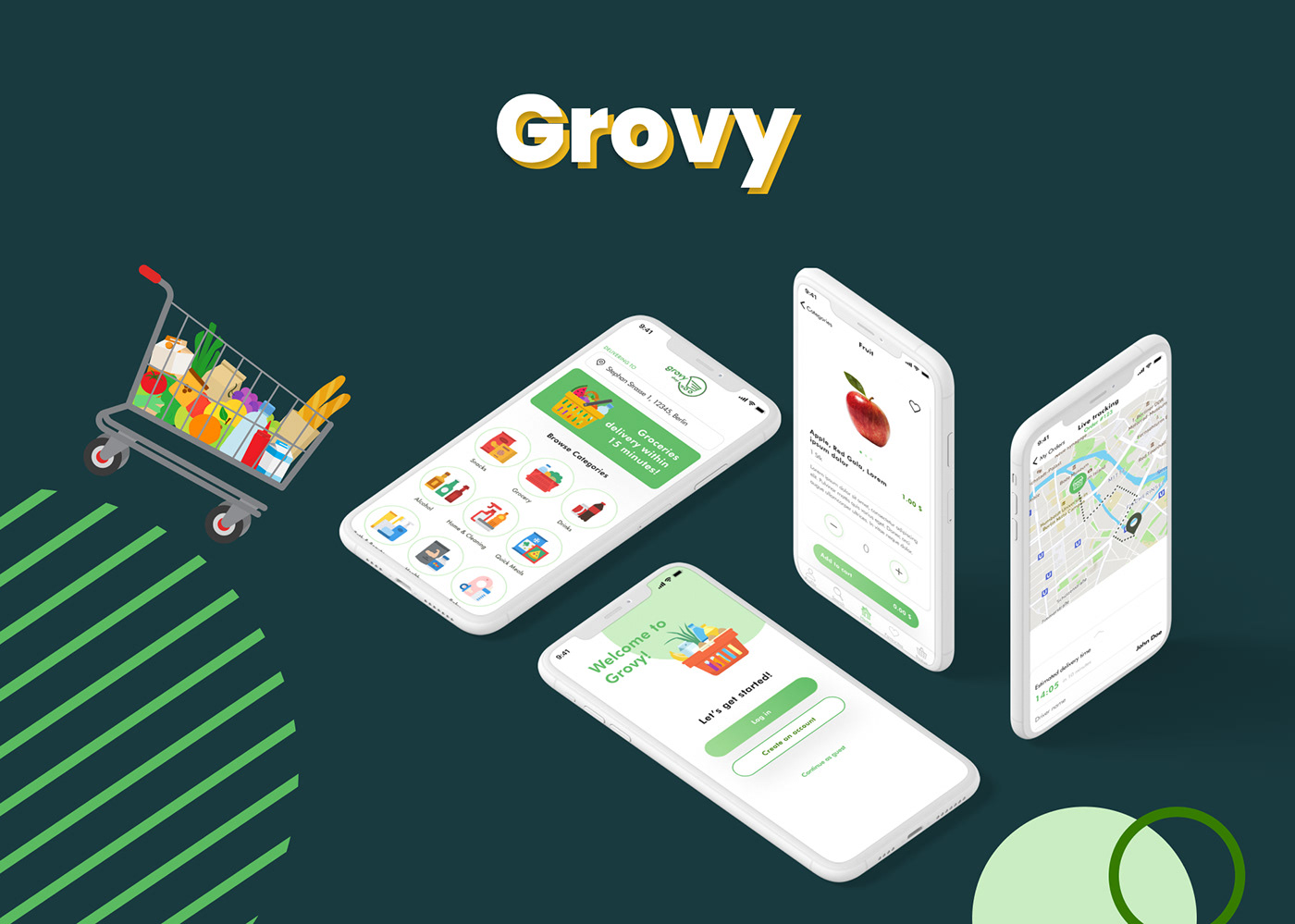 Grocery grovy mobile design Shopping UI user interface ux Food  Prototyping