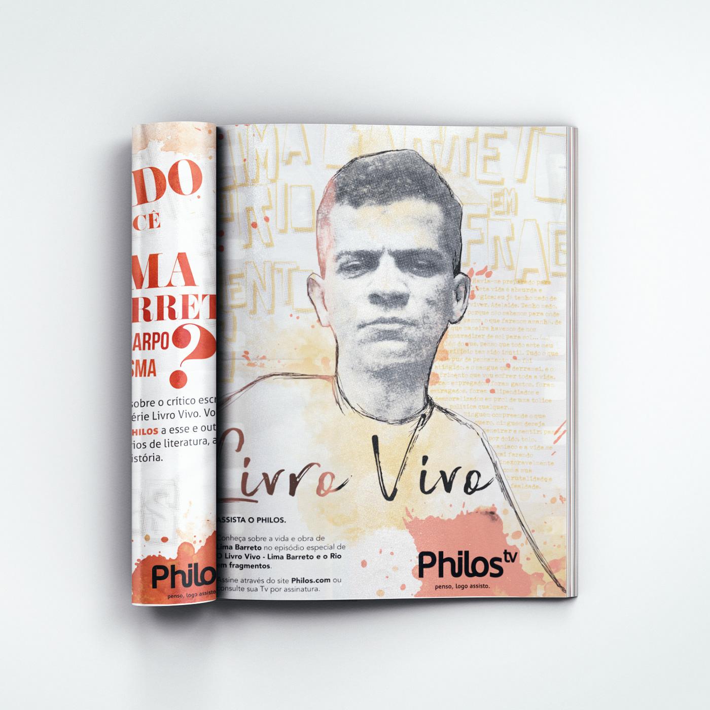 design gráfico flip anúncio revista Ilustração tipografia