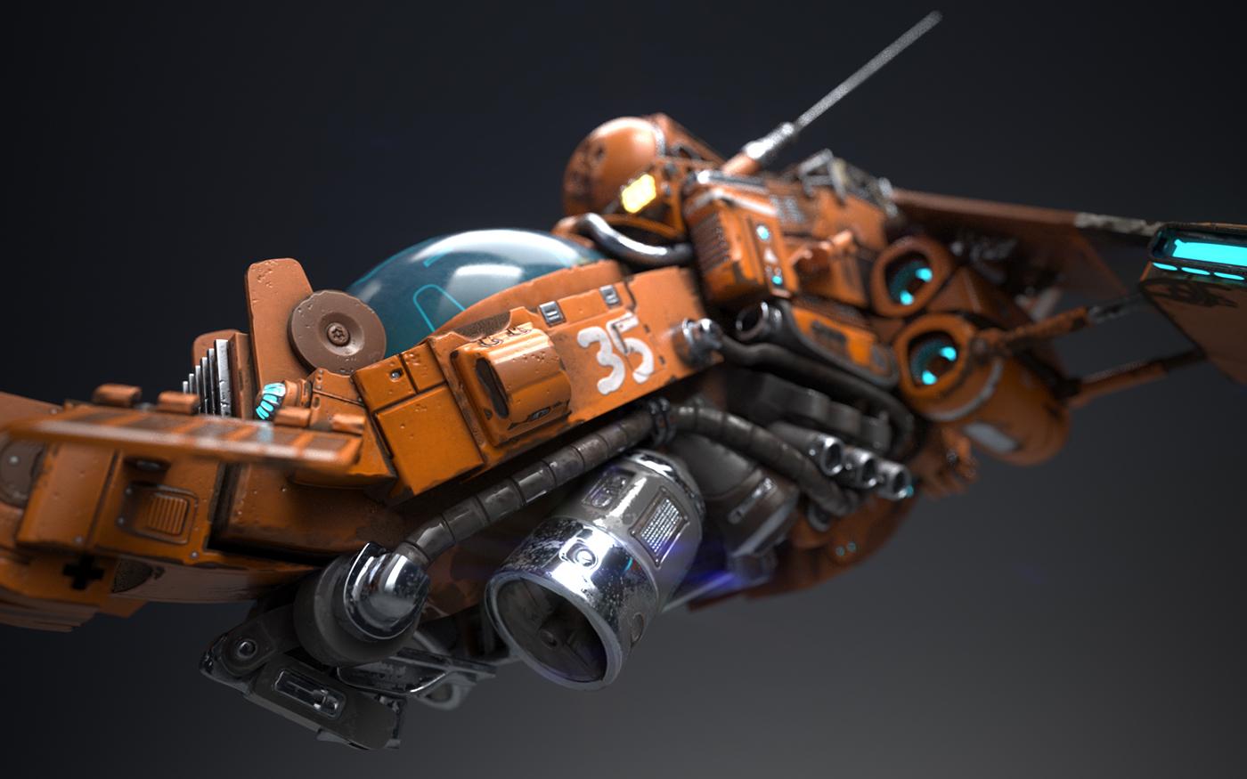 Sci fi ship 3d model and render on behance for 11553 sunshine terrace