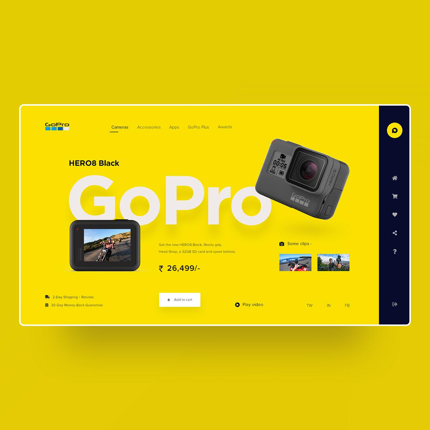 Clean Design designs front-end development gopro Logo Designs minimal deisgn ui designs UX Designs web designs web development