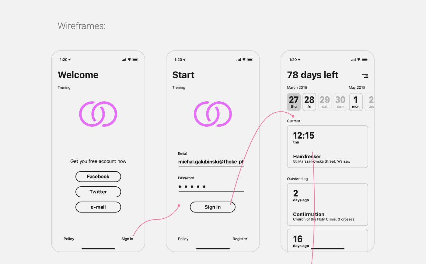 ios app application iphone wedding maps wireframes