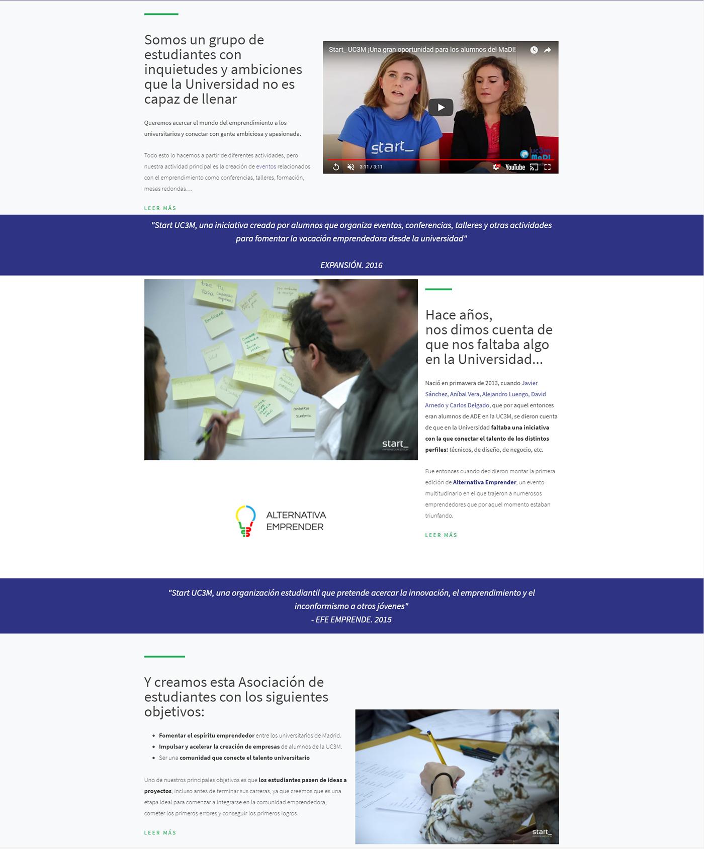 Web innovación ux UI wordpress seasons pro Emprendedores Startup asociación universidad