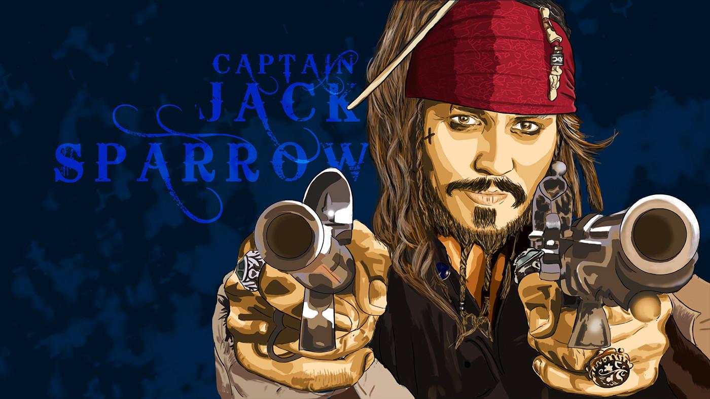 jack sparrow captain pirates of carribean pirates ILLUSTRATION  painting   Wacom Tablet Art portrait