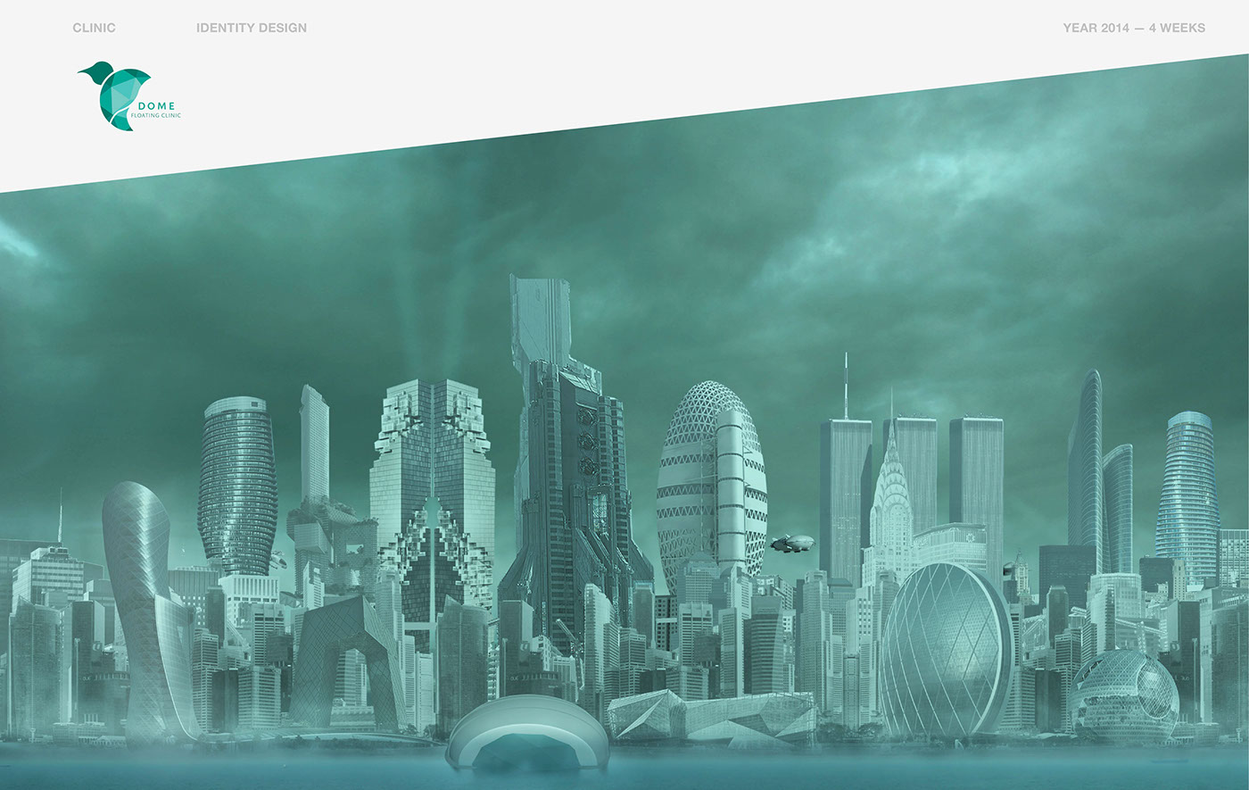 clinic identity campaign futuristic context conceptual imagination 3D building floating dome Sustainable Human Behavior people culture