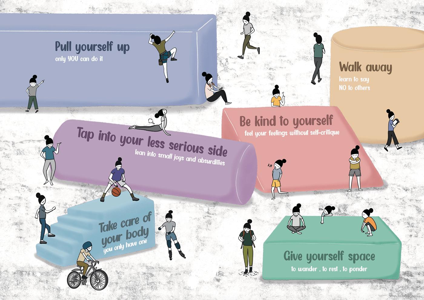 design ILLUSTRATION  mental health self-care singapore