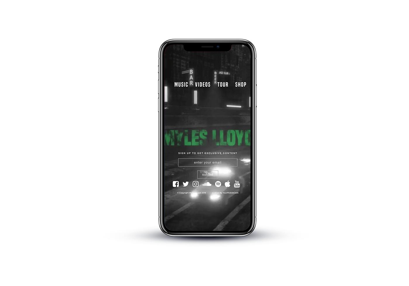 myles lloyd Website music Mockup UI ux branding  clean black