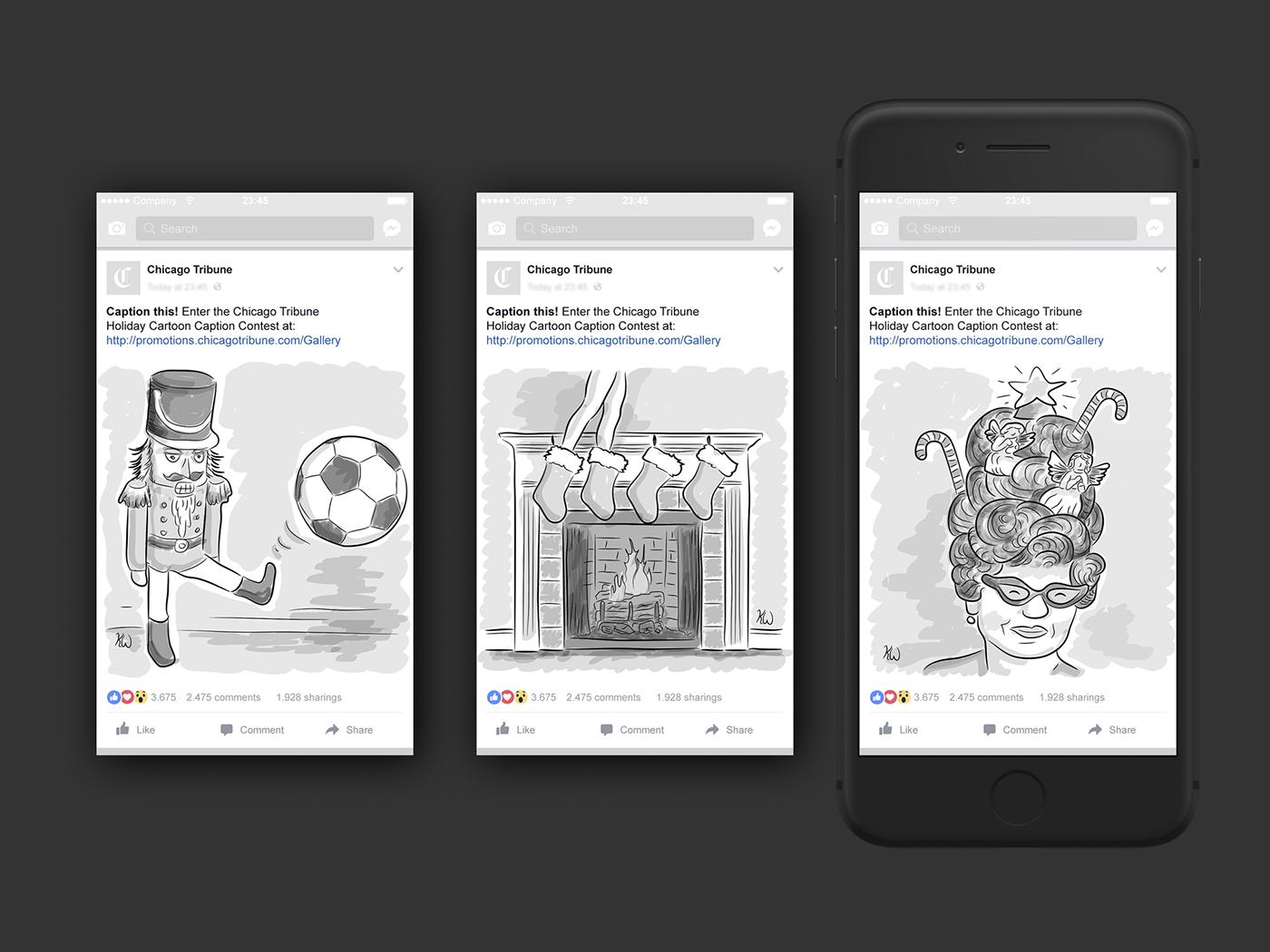 Advertising  social social media facebook campaign chicago tribune cartoon ILLUSTRATION  digital grayscale