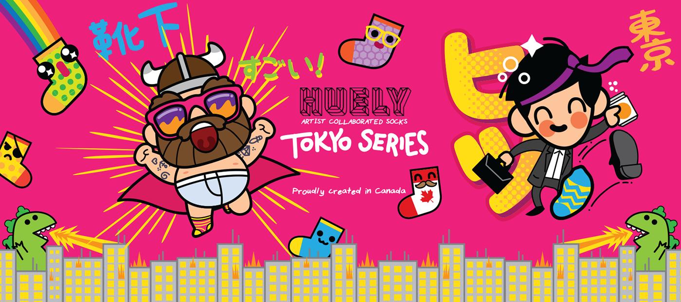 tokyo,kawaii,socks,cute,funny,viking,Clothing,characters,godzilla