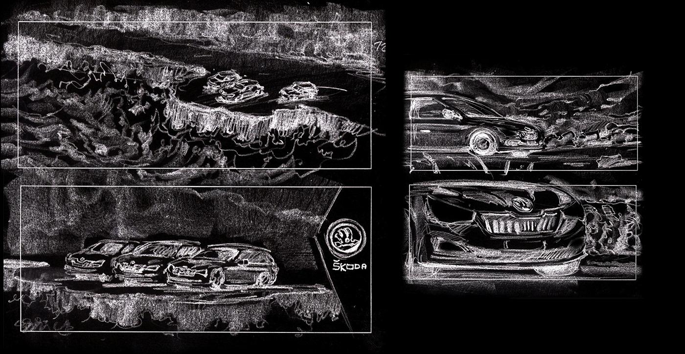 Advertising  art direction  animation  copywriting  automotive   Cars Skoda matepainting