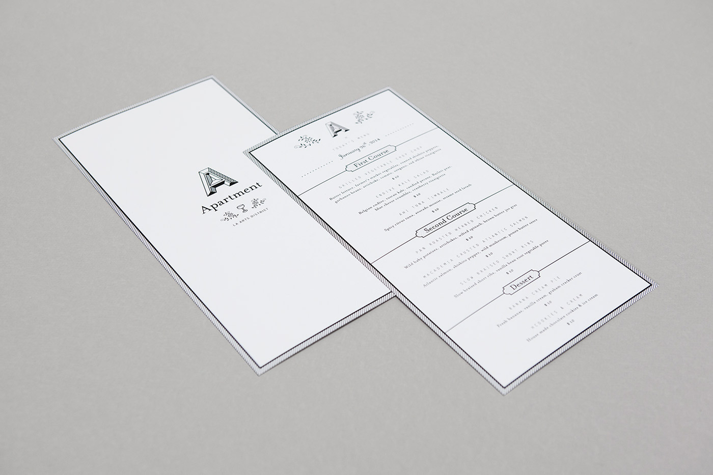 apartment a Los Angeles menu cards Business Cards say what studio