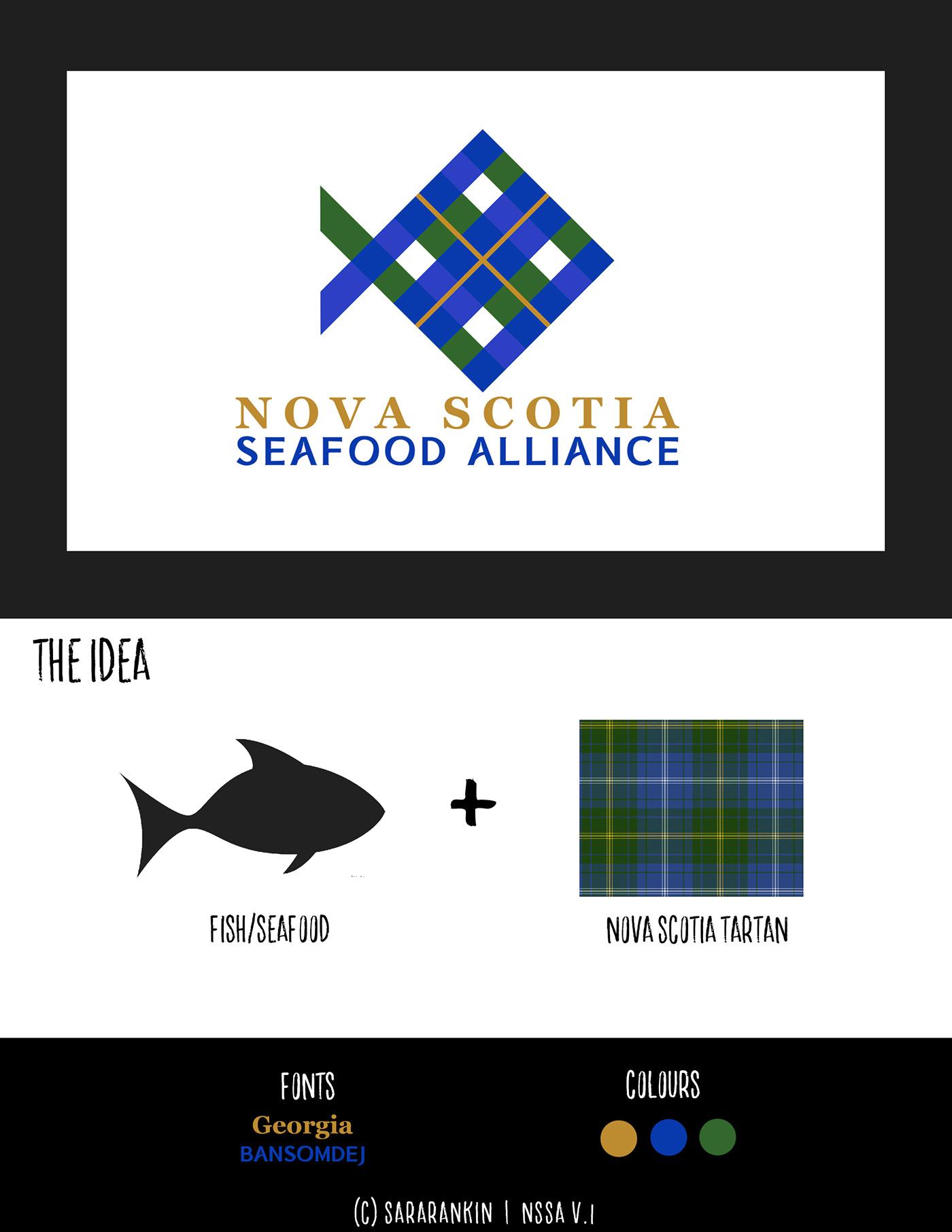 Logo Design re-brand branding  seafood nova scotia tartan Canada fish