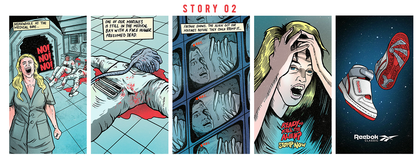 aliens comics reebok Retro shoes timelapse