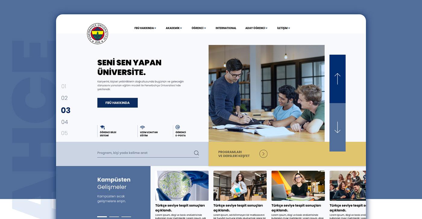 Fenerbahçe,University,user experience,user interface,Web,Web Design ,Webdesign